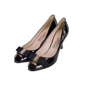 Salvatore Ferragamo Pola Leather Peep Toe Pumps